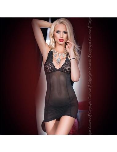 Camisa de Noite e Tanga Cr-4147 Preta - 36 S - PR2010348524